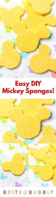 Check Out These Super Cuter and Easy To Make #DIY Mickey Sponges! #disneydiy #disneyinfluencer #disneymom #MickeyMouse #mickeyfriendsstaytrue
