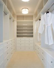 want these long shelves/cubbies above drawers on right side of my side of the closet.