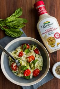 Creamy Garlic Zoodles with Roasted Tomatoes