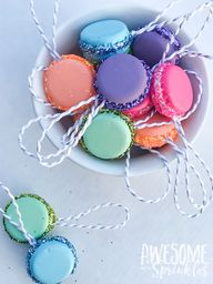 DIY French Macaron Ornaments and Present Toppers - Awesome with Sprinkles