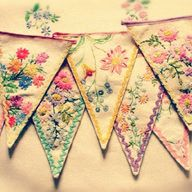 vintage textiles into bunting...from Feeling Stitchy.what an adorable idea!