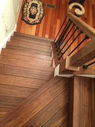 Floor your stairs with Antique Java Fossilized® bamboo flooring from Cali Bamboo