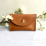 Card holder / slim wallet / card case in high quality cognac brown leather. lind with leopard print suede. Gift for her.