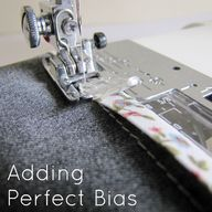 Sewing bias binding.