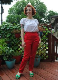 Red stretch twill pa
