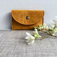 cork card holder / cork wallet lined with wool felt . Eco friendly slim wallet hand painted in golden yellow