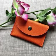 Card holder/ leather card case in orange Saffiano leather. Orange and pink leather wallet with two compartments.