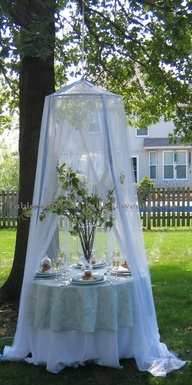 Great idea, Mosquito net to keep flies  off unattended food table