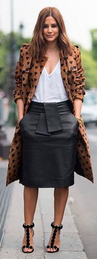 leather midi skirt +