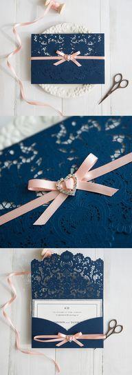 accessoire de faire part mariage bleu marine et rosewww.jolies-fetes.fr