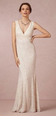 @BHLDN Weddings' Candence gown, designed by Rachel Gilbert, is covered entirely in sequins and beads for a unique look that we love.