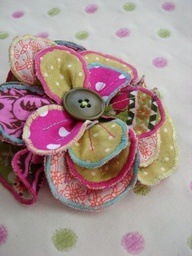 Colourful Fabric Flower Corsage Brooch!