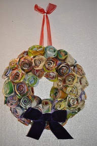 Rolled paper rose wreath made using old children's books that I found in a skip!