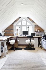You can increase attic workspace functionality by using furniture than can be easily collapsed, moved around, or serve multiple purposes.