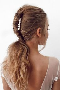 24 Pony Tail Hairstyles Wedding Party Perfect Ideas ❤ pony tail hairstyles alagan swept with pearls on medium hair lee4you #weddingforward #wedding #bride #weddinghair #ponytailhairstyles