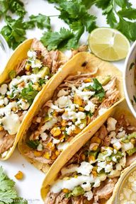 It doesnt need to be Taco Tuesday to enjoy these! Corn tortillas are loaded with flavorful shredded chicken, a charred corn salsa, and topped with a hearty drizzle of avocado cilantro lime sauce and crumbled cotija cheese. Theyre Mexican street corn turned into tacos! | Mexican Street Corn Chicken Tacos | stressbaking.com @stressbaking #stressbaking