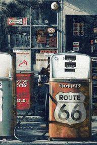 Route 66 signage.