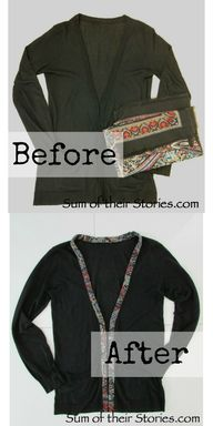Fabric trimmed cardigan refashion