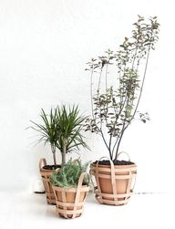 Leather planter bask