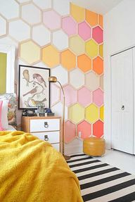 DIY Wall Art Ideas - Honeycomb Patterned Tiles for Walls. I love this idea!!!!!!!!!!!!!!!!!!!!!!!!!!
