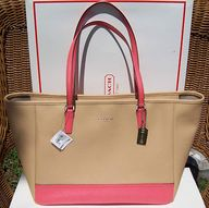 COACH Camel  Coral Saffiano Medium Colorblock City Tote 23884 $298 NWT