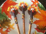 THANKSGIVING TURKEY PRETZEL RODS * Kids Food Project * CHOCOLATE, Candy Corn, PEANUT BUTTER - Cindys ON-Line recipe box