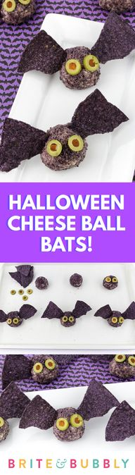 Create this fun and spooky Cheese Ball Bats Recipe for Halloween!