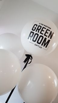 Beautiful bold silk screen printing onto these 3ft balloons.