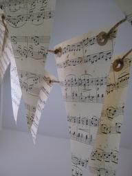 Musical Notes Love Songs Paper Bunting Garland 6 Meters. $16.00, via Etsy.