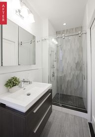 Before & After: Simple Solutions for a Seriously Small (& Sort Of Scary) Bathroom — Sweeten - Shower