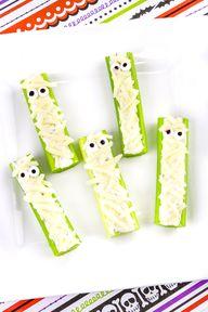 Mummy Celery Halloween Snack!