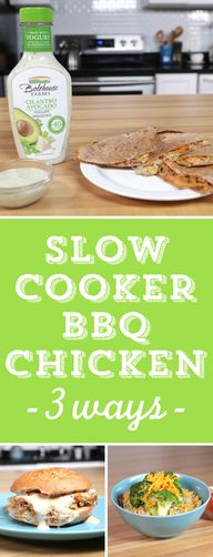Slow Cooker BBQ Chicken 3 Ways