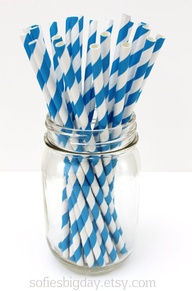 BLUE Stripe Straws25