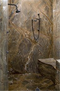 Showers | Slab showers can be as simple as stone tiles or we can book match ...