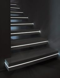 Luxo by Sandrini Scale, with uniform light strip to floating tread. (click link for original image)