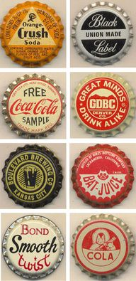 Vintage bottle caps from pinner Will.  Ill have to post my photo of why this is in this board -- a vintage cap I randomly saw last spring in the middle of nowhere outback driving out from Woomera, Australia.