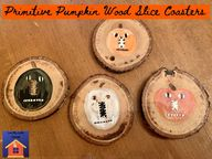 Primitive Pumpkin Wood Slice Coasters - lovemycottage