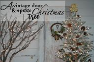 A vintage door & a petite Christmas tree