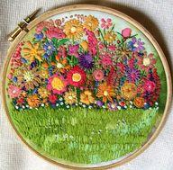 flower garden crewel embroidery