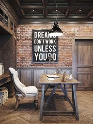20 Interiors that Actually Inspire. Messagenote.com Earthy rustic home office design  incorporating lots of timber  exposed brick  industrial lighting and  paneling  love the addition of the cream upholstered seating  contrasts beautifully with the surrounds