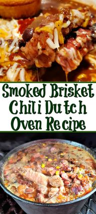 Lefover smoked brisket makes the perfect Spicy Smoked Brisket Chili Dutch Oven Recipe! Chop it up and throw in the pot with everything else and smoke more! #Brisket #chili #dutchoven
