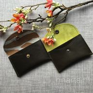 Card holder / slim wallet / coin case / card case in high quality dark olive green leather. Gift for her.