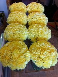 Yellow Wedding Flower Centrepieces (carnations)