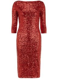 Red sequin midi dres