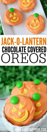 Jack-O-Lantern Chocolate Covered Oreos