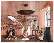 Angels in library by