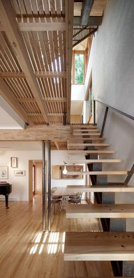 Wooden staircase, Bernier-Thibault Residence, designed by Paul Bernier Architecte, Montreal/Canada