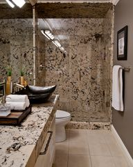 Granite Slab Showers And Bathroom Walls Design Ideas, Pictures, Remodel and Decor  No grout lines and shower ceiling has slab too! Waterproof!