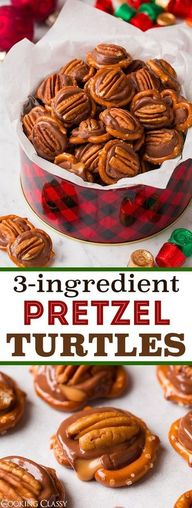 Rolo Pretzels - One of the easiest treats youll ever make! Crisp salty pretzel layered with sweet caramel chocolate Rolo candy and finished with crunchy pecans. Everyone loves these! #chocolate #caramel #turtle #candy #pretzels via @cookingclassy