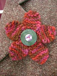 knitted flower pin p